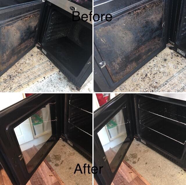 Before and after of an oven cleaned by Country Cleaners in Sidmouth