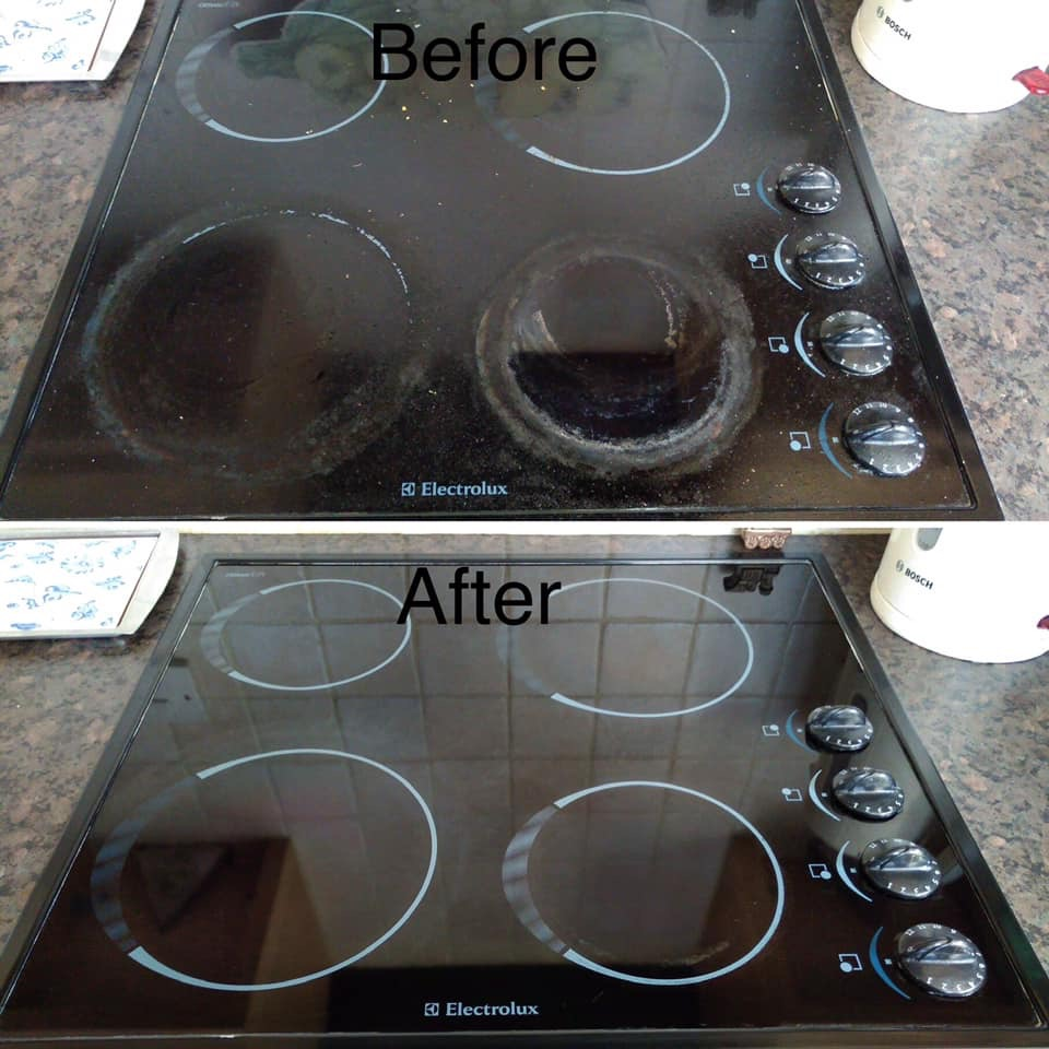 Electric hob cleaned by Country Cleaners in Cullompton