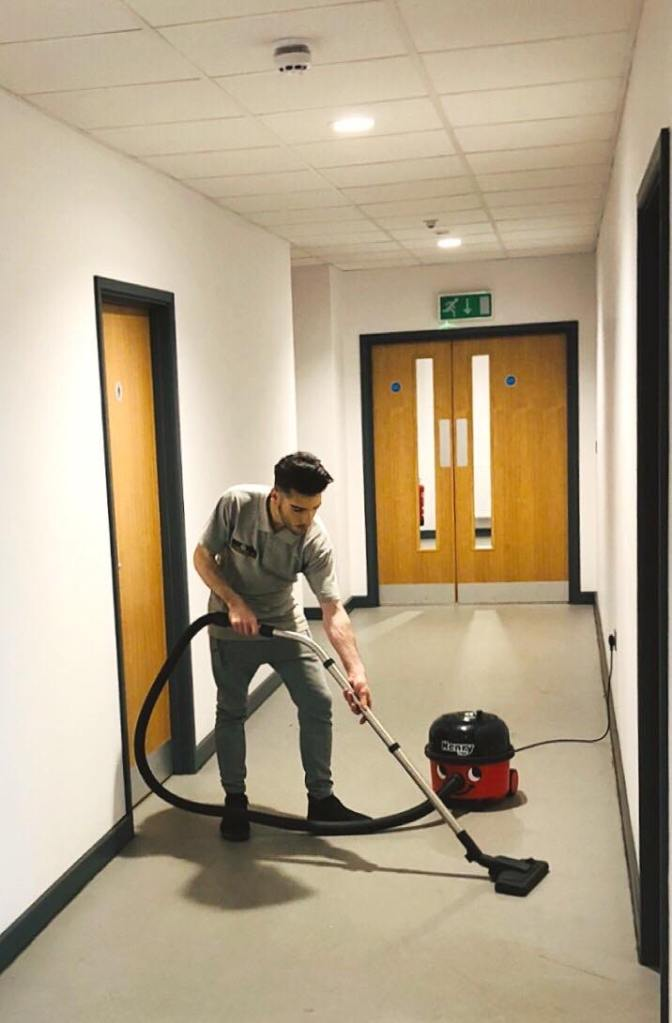 Country Cleaners cleaning a hallway for a local business in Honiton