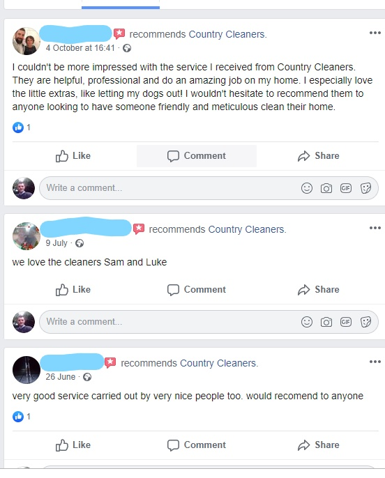 Facebook recommendations for Country Cleaners